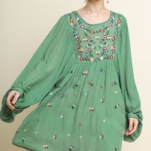 Umgee Balloon Sleeved Embroidered Boho Chic Dress